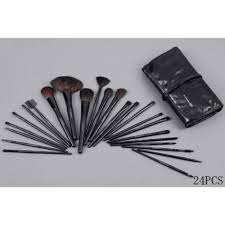 brush set w leather pouch
