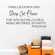 Amazon Com Ducklingup I Will Lay Down And Sleep In Peace Psalms 4 8 Wall Decal Sticker Art Mural Home Decor Quote Lettering Christian Verse Scripture Religious Bible Wall Sticker Decals Home Kitchen