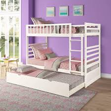 Amazon Com Bunk Beds For Kids Twin Over Twin Bunk Bed With Trundle Wooden Twin Bed With Safety Rail Ladder Teens Bedroom Bed Guest Room Furniture Milk White Kitchen Dining