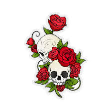 Skull Roses Sticker Red Gothic Skeleton Tattoo Laptop Decal Vinyl Cut Starcove Fashion