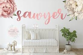 3 Rose Gold Floral Baby Name Wall Decal Peony Peonies Flower Sticker B Pink Forest Cafe