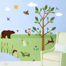 My Wonderful Walls Forest Multi Peel And Stick Removable Wall Decals Woodland Critters Theme Wall Mural 83 Piece Jumbo Set Stk1012 The Home Depot