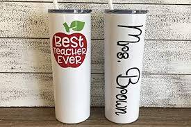 Amazon Com Teacher S Personalized 20 Oz Stainless Steel Skinny Tumbler With Custom Vinyl Decal By Avito Includes Straw And Lid Back To School Teacher S Gift Best Teacher Ever Handmade