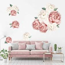 1pc Peony Rose Flowers Wall Sticker Art Nursery Decals For Kids Room Living Room Bedroom Home Decor Gift Art Nature Room Decals Wall Stickers Aliexpress