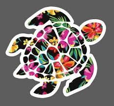 Floral Sea Turtle Decal Sea Turtle Decal Sticker Hydroflask Laptop Skate Board Ebay