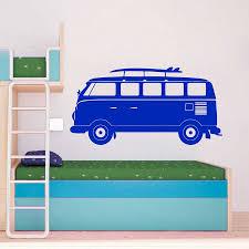 Cartoon Volkswagen Camper Van Wall Art Vinyl Decal Sticker Kids Room Retro Wall Decor Wall Decor Decal Stickerkids Room Aliexpress