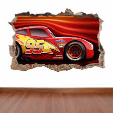 Cars 3 Lightning Mcqueen Hole In The Wall Full Colour Feature Sticker Decal Cars 3 Lightning Mcqueen Lightning Mcqueen Lightning