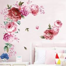 2pcs Large Peony Rose Wall Stickers Diy Vintage Flowers Wallpaper For Bedroom Living Room Decals Mural Home Decor 30x90cm Wall Stickers Aliexpress