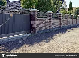 Gray Iron Gates Brick Fence Front Road Stock Photo C Anatolx 221263788