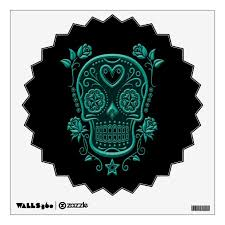 Teal Blue Sugar Skull With Roses On Black Wall Decal Zazzle Com