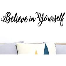 Amazon Com Craftelife Believe In Yourself Decal Mirror Sticker Wall Quote For Home Decor Wall Sticker For Motivation And Improved Self Esteem 22 X 5 Inches Home Kitchen
