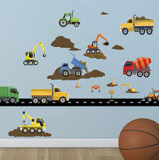 Amazon Com Create A Mural Trucks Construction Vehicles Wall Decals Boys Wall Stickers Vehicles Street Construction Scene Theme Room Vinyl Peel Stick Bedroom Decor Toddlers Playroom Decoration Birthday Gift Arts Crafts Sewing