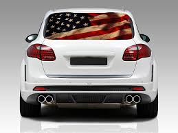 Amazon Com American Flag Vintage Rear Window Graphic Decal Sticker Car Truck Suv Van Us 214 Large Kitchen Dining
