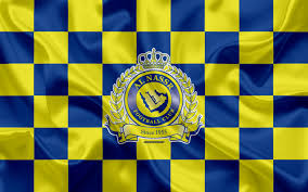 تحميل خلفيات النصر Fc 4k شعار الفنون الإبداعية الأصفر الأزرق