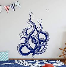 Art Design Vinyl Octopus Wall Decal Octopus Decal Octopus Stickers Kraken Wall Decal Nautical Wall Decals Decals For Bathroom Bedroom Stickers And Stick Wall Decals Wantitall