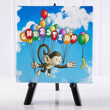 Personalized Kids Room Decor Floating Zoo Table Top Canvas Print Baby Gifts