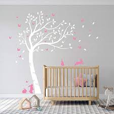 Amazon Com Full Size Beautiful Bunny Rabbits Tree Nursery Room Wall Decal Sticker Dd007 White Pink Home Kitchen