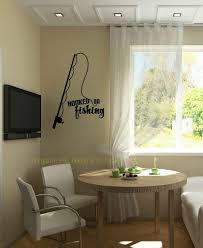 Wall Decor Plus More Wdpm3504 Hooked On Fishing With Pole Wall Decal Lettering Vinyl Sticker Quote 23x16 Black Amazon Com