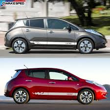 2pcs Lot Car Side Body Sticker For Nissan Leaf Sport Stripes Decals Racing Styling Auto Door Skirt Stickers Car Stickers Aliexpress