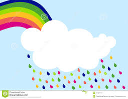 Tarjeta De La Invitacion De La Nube De Lluvia Del Arco Iris Stock