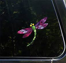Amazon Com Dragonfly D3 Stained Glass Style Car Vinyl Decal Yadda Yadda Design Co 5 75 W X 5 25 H Color Choices Purple Wings Arts Crafts Sewing