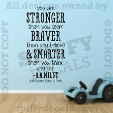 Winnie The Pooh Stronger Braver A A Milne Quote Vinyl Wall Decal Decor Sticker Ebay