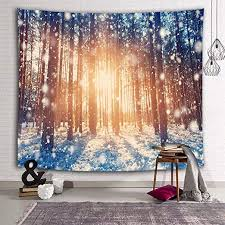 Amazon Com Uhuse Winter Forest Tapestry Wall Hanging Dorm Living Room Bedroom Kids Room White Snow Trees Sunshine Morning Tapestries 51x59 Inch Home Kitchen