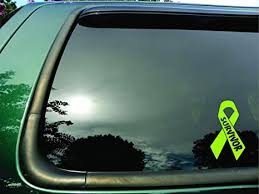 Amazon Com Survivor Ribbon Lime Green Lymphoma Cancer Die Cut Vinyl Window Decal Sticker For Car Or Truck 3 5 X6 Everything Else