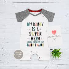 superhero fathers day baby grow