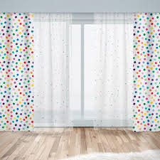 Kids Window Curtains Sheer Or Blackout With Colorful Polka Etsy