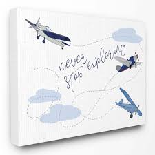 The Stupell Home Decor Collection The Kids Room By Stupell Never Stop Exploring Airplanes Wall Art Hayneedle