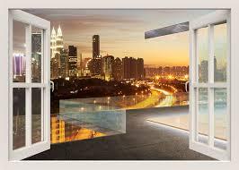 Modern City Wall Decal Kuala Lumpur Night View Wall Decal Etsy