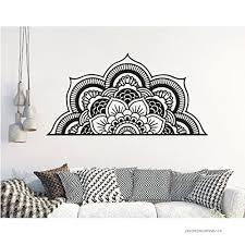 Living Room Removable Decoration Y022 57x100cm White Half Mandala Vinyl Wall Decal Om Meditation Flower Bohemian Headboard Home Decor Bedroom Wall Sticker Wall Stickers Murals