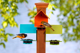 Serve Your Wild Feathered Friends In Colorful Style With The 6 Fence Or Post Bird Feeder Designed To Provide Food And Shelte Bird Feeders Backyard Birds Bird