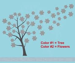 Tree Blowing With Flowers Large Tree Wall Decals Vinyl Art Home Decor