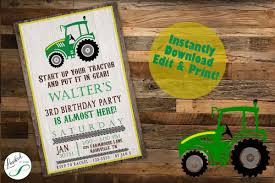 Invitacion Al Tractor Tractor Invitation Descarga Digital Etsy