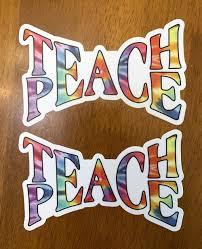 Teach Peace Vinyl Decal Sticker Love Happiness Gandhi Minglewood Trading