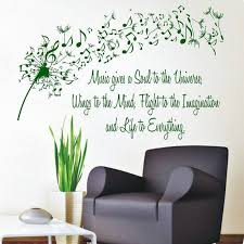 Shop Quote Music Gives A Soul To The Universe Vinyl Sticker Flower Interior Design Art Mural Sticker Decal Size 22x26 Color Black On Sale Overstock 14735076