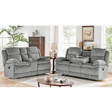 piece smokey reclining sofa