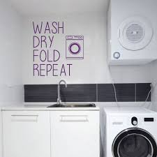 Amazon Com Laundry Room Wall Decal Wash Dry Fold Repeat Fun Vinyl Sign Art For Home Decoration Handmade