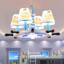 Kids Room Pirate Ship Chandelier Light Fabric 4 5 Lights Ceiling Chandelier In Blue Beautifulhalo Com