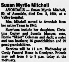 Obituary for Susan Myrtle (Nessmith) Coleman-Mitchell - Newspapers.com
