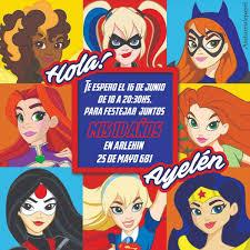 Tarjetas Invitaciones Cumpleanos Super Heroinas Girls Nenas 26