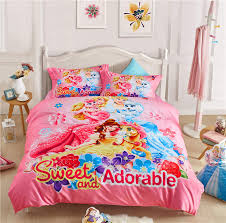 queen size bed set pink disney cartoon