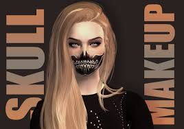 mod the sims half skull makeup