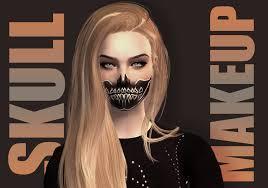 mod the sims half skull makeup