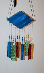 stained glass wind chime glass