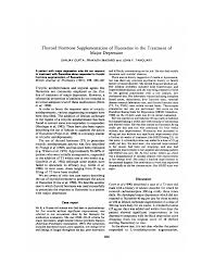 Thyroid Hormone Supplementation of Fluoxetine in the Treatment of Major  Depression
