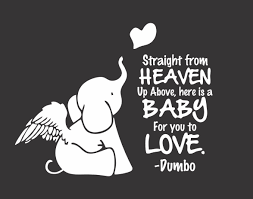 Baby Elephant Straight From Heaven Vinyl Decal Free Shipping