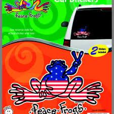 U S A Peace Frogs Car Sticker Enjoy It